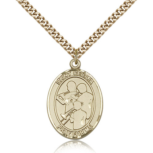Gold Filled 1in St Cecilia Band Medal & 24in Chain