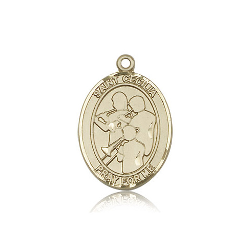 14kt Yellow Gold 1in St Cecilia Band Medal