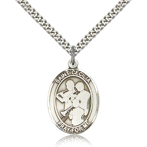 Sterling Silver 1in St Cecilia Band Medal & 24in Chain
