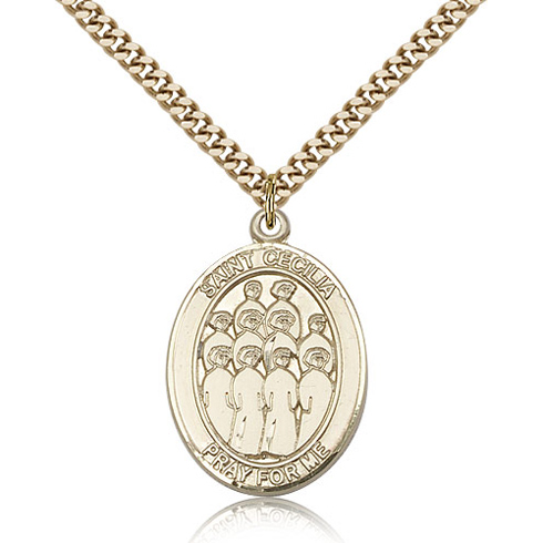 Gold Filled 1in St Cecilia Choir Medal & 24in Chain