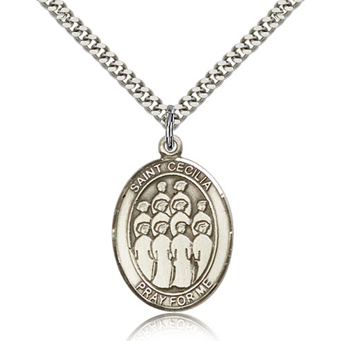 Sterling Silver 1in St Cecilia Choir Medal & 24in Chain