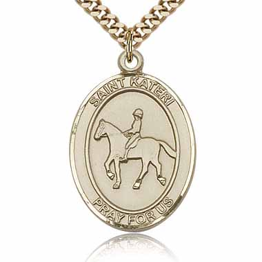 Gold Filled 1in St Kateri Equestrian Medal & 24in Chain