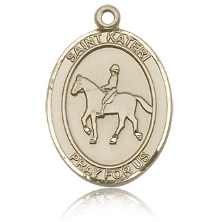 14kt Yellow Gold 1in St Kateri Equestrian Medal