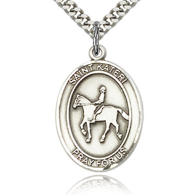 Sterling Silver 1in St Kateri Equestrian Medal & 24in Chain