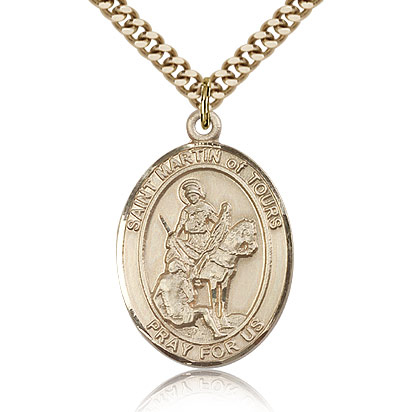 Gold Filled 1in St Martin of Tours Medal & 24in Chain