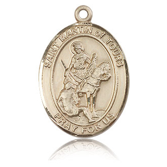 14kt Yellow Gold 1in St Martin of Tours Medal