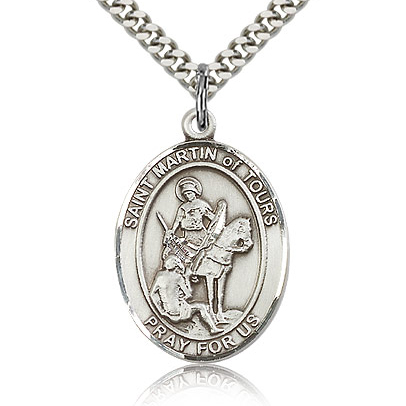 Sterling Silver 1in St Martin of Tours Medal & 24in Chain