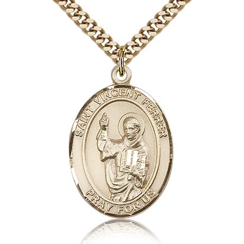 Gold Filled 1in St Vincent Ferrer Medal & 24in Chain