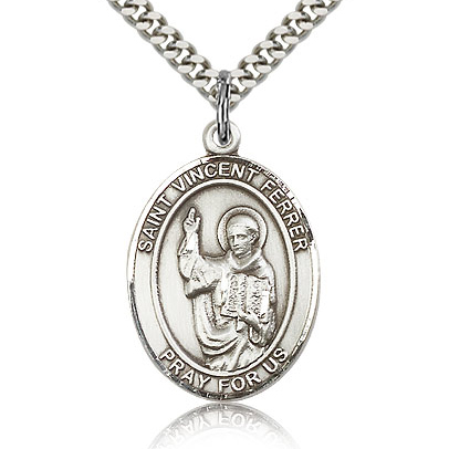 Sterling Silver 1in St Vincent Ferrer Medal & 24in Chain