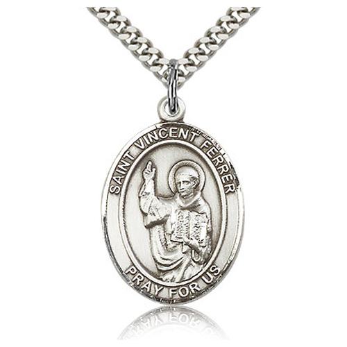 Sterling Silver 1in St Vincent Ferrer Medal & 24in Chain