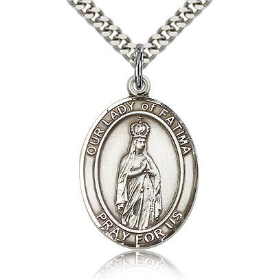 Sterling Silver 1in Our Lady of Fatima Medal & 24in Chain