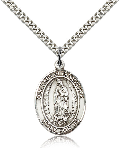 Sterling Silver 1in Our Lady of Guadalupe Medal & 24in Chain
