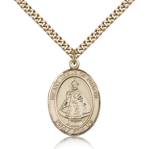 Gold Filled 1in Infant of Prague Medal & 24in Chain