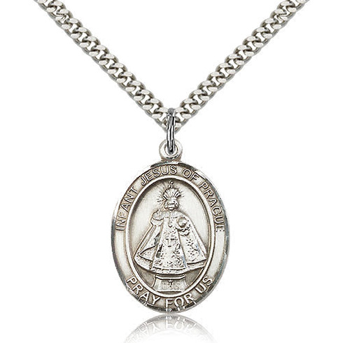 Sterling Silver 1in Infant of Prague Medal & 24in Chain