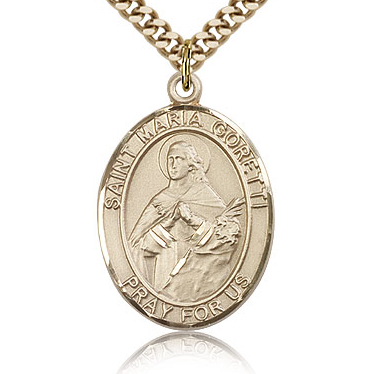 Gold Filled 1in St Maria Goretti Medal & 24in Chain