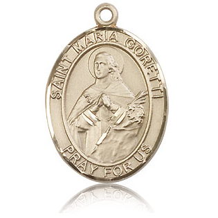 14kt Yellow Gold 1in St Maria Goretti Medal