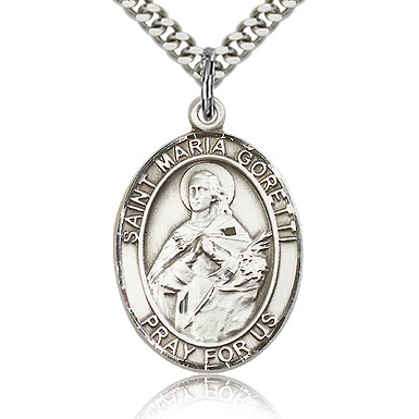 Sterling Silver 1in St Maria Goretti Medal & 24in Chain
