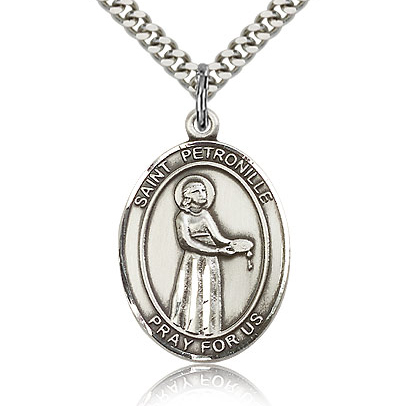 Sterling Silver 1in St Petronille Medal & 24in Chain