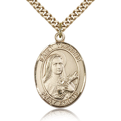 Gold Filled 1in St Therese of Lisieux Medal & 24in Chain