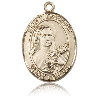 14kt Yellow Gold 1in St Therese of Lisieux Medal