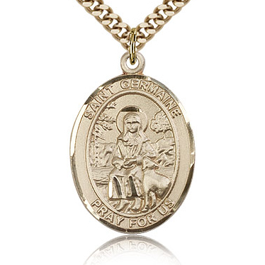 Gold Filled 1in St Germaine Cousin Medal & 24in Chain