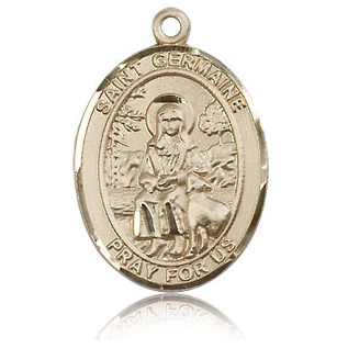 14kt Yellow Gold 1in St Germaine Cousin Medal