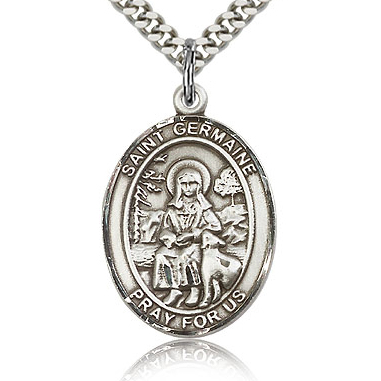 Sterling Silver 1in St Germaine Medal & 24in Chain