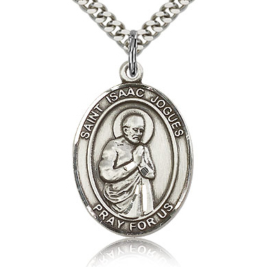 Sterling Silver 1in St Isaac Medal & 24in Chain