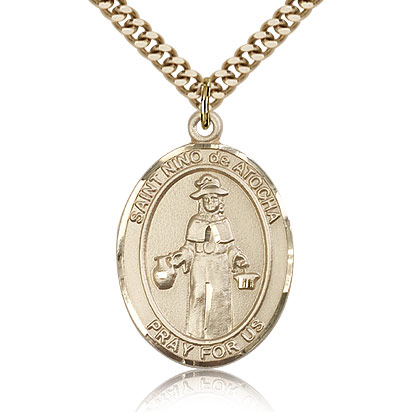 Gold Filled 1in St Nino de Atocha Medal & 24in Chain