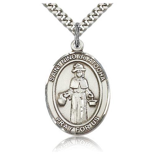 Sterling Silver 1in St Nino de Atocha Medal & 24in Chain