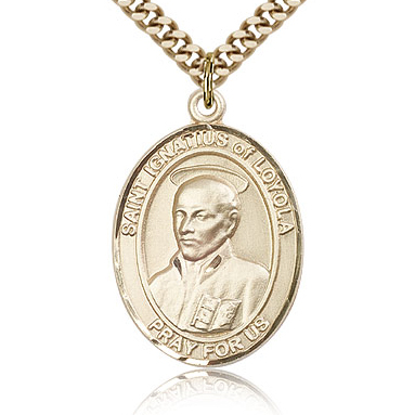 Gold Filled 1in St Ignatius Medal & 24in Chain