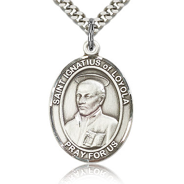 Sterling Silver 1in St Ignatius Medal & 24in Chain
