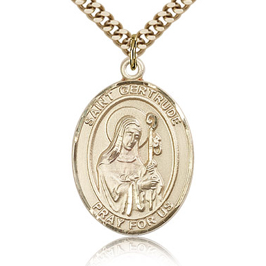 Gold Filled 1in St Gertrude Medal & 24in Chain