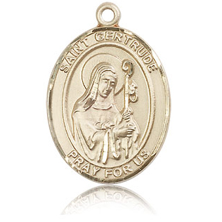 14kt Yellow Gold 1in St Gertrude Medal
