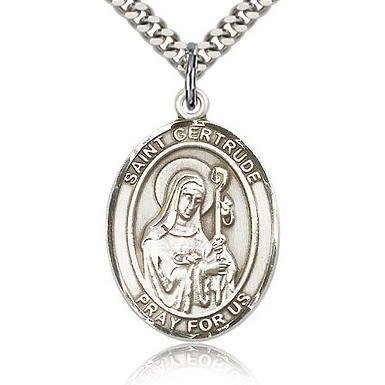 Sterling Silver 1in St Gertrude Medal & 24in Chain