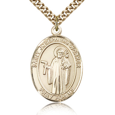 Gold Filled 1in St Joseph the Worker Medal & 24in Chain