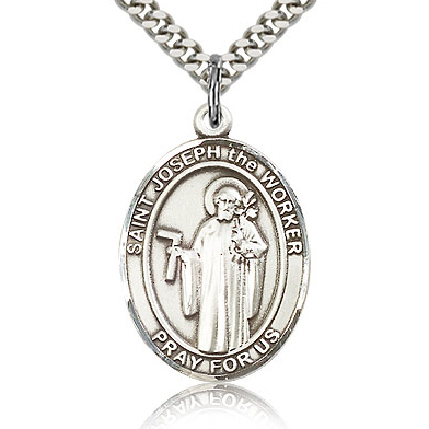 Sterling Silver 1in St Joseph the Worker Medal & 24in Chain