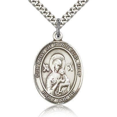 Sterling Silver 1in Lady of Perpetual Help Medal & 24in Chain