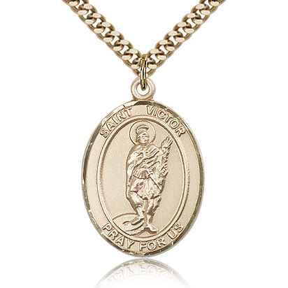 Gold Filled 1in St Victor Medal & 24in Chain