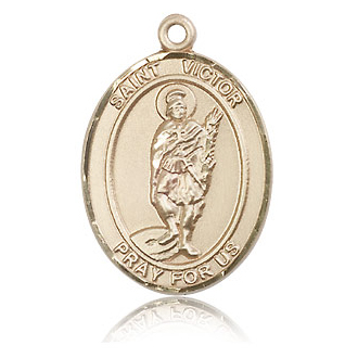 14kt Yellow Gold 1in St Victor Medal