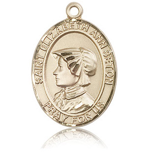 14k Yellow Gold 1in St Elizabeth Ann Seton Medal