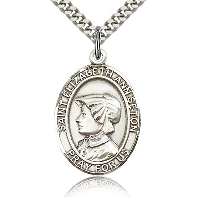 Sterling Silver 1in St Elizabeth Medal & 24in Chain