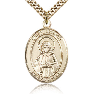 Gold Filled 1in St Lillian Medal & 24in Chain