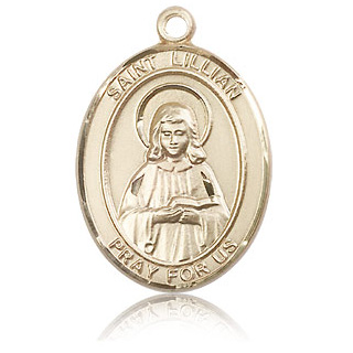 14kt Yellow Gold 1in St Lillian Medal