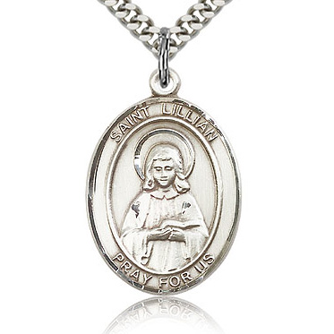 Sterling Silver 1in St Lillian Medal & 24in Chain