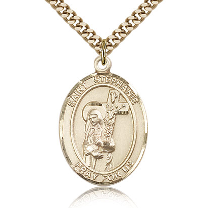 Gold Filled 1in St Stephanie Medal & 24in Chain
