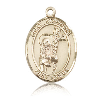 14kt Yellow Gold 1in St Stephanie Medal