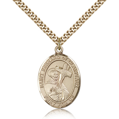 Gold Filled 1in St Bernard Medal & 24in Chain