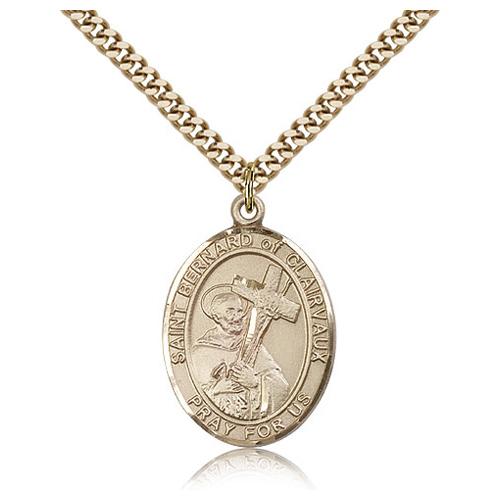 Gold Filled 1in St Bernard Medal & 24in Chain