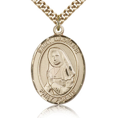 Gold Filled 1in St Madeline Medal & 24in Chain